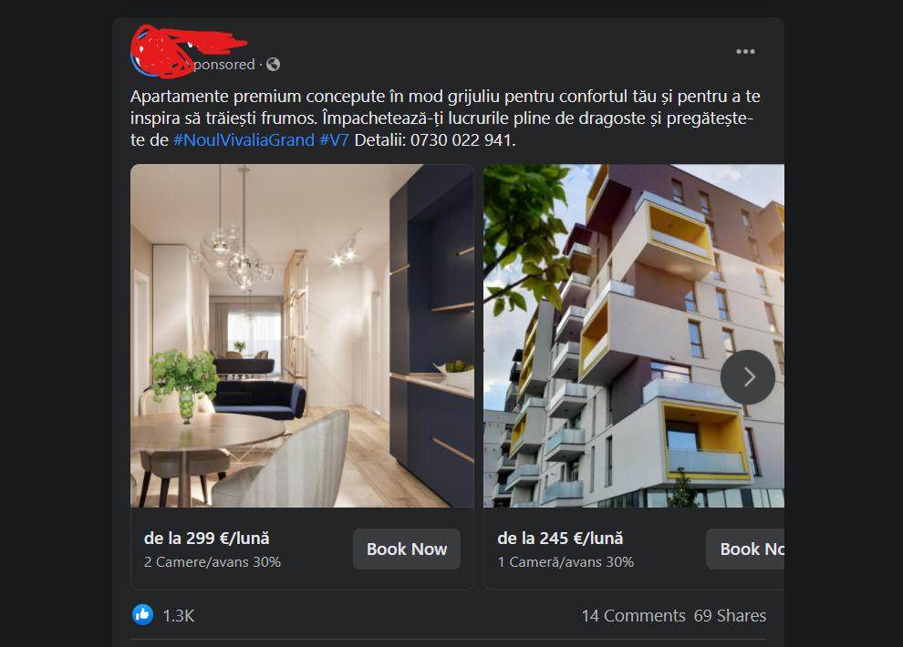 Cam asa arat un Facebook Ad
